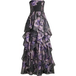 Aidan Mattox Women's Strapless Organza Ruffle Gown - Black Multi - Size 2 found on MODAPINS from Saks Fifth Avenue for USD $178.49
