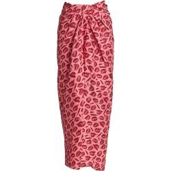 Brandon Maxwell Women's Lip-Print Silk Midi Skirt - Bordeaux Lip Print - Size 6 found on MODAPINS from Saks Fifth Avenue for USD $420.36