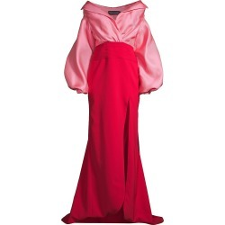 Brandon Maxwell Women's Off-The-Shoulder Satin Gazaar Two-Tone Gown - Pink Red - Size 2 found on MODAPINS from Saks Fifth Avenue for USD $2517.00