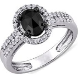 1 CT Black and White Oval and Round Diamonds TW 14k White Gold Fashion Ring