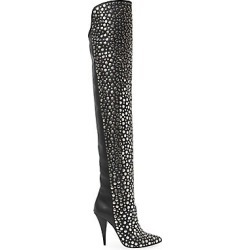 Saint Laurent Women's Kiki Embellished Over-The-Knee Leather Boots - Nero - Size 39.5 (9.5) found on Bargain Bro Philippines from Saks Fifth Avenue for $2495.00