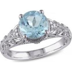 Bague de soirée avec topaze bleue de 2,33 ct PT et détails en diamants