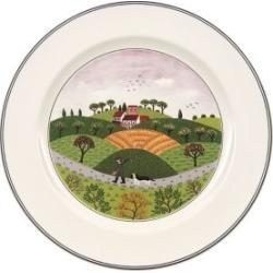 Assiette plate en porcelaine avec imprimé d'un chasseur et d'un chien Design Naif