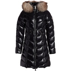 Moncler Women's Fulmarus Lacquer Fox Fur-Trim Puffer Coat - Black - Size 00 (XXS) found on MODAPINS from Saks Fifth Avenue for USD $2180.00
