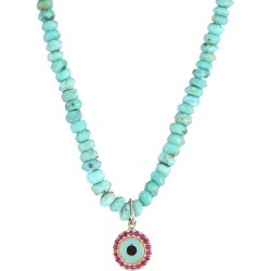 Sydney Evan Women's Small Arizona Turquoise Bead, Ruby & Enamel Evil Eye Charm Necklace - Blue found on Bargain Bro Philippines from Saks Fifth Avenue for $925.00