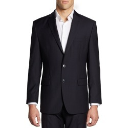 Calvin Klein Men's Hairline-Striped Slim-Fit Wool Suit Jacket - Midnight - Size 44 S found on Bargain Bro India from Saks Fifth Avenue OFF 5TH for $89.97