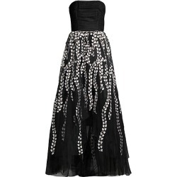 BCBGMAXAZRIA Women's Floral Embroidered Strapless A-Line Gown - Black - Size 10