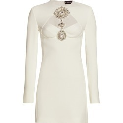 David Koma Women's Jewel Embellished Cutout Mini Dress - White Silver - Size 6 found on MODAPINS from Saks Fifth Avenue for USD $659.99