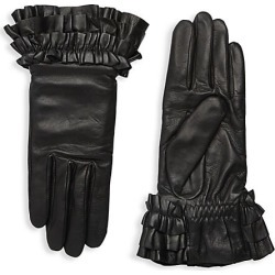 Agnelle Women's Frou Frou Leather Gloves - Black - Size 8 found on MODAPINS from Saks Fifth Avenue for USD $200.00