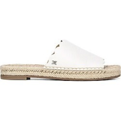 Sam Edelman Women's Andy Pebbled Leather Espadrille Slides - Bright White - Size 6 Sandals
