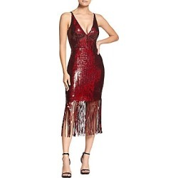 Dress The Population Women's Frankie Sequin Fringe Sheath Dress - Garnet - Size XS found on MODAPINS from Saks Fifth Avenue for USD $104.24