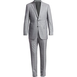 Ermenegildo Zegna Men's Check Wool & Silk Suit - Grey - Size 54 (44) R found on MODAPINS from Saks Fifth Avenue for USD $2621.25