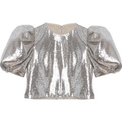 Carolina Herrera Women's Sequin Puff-Sleeve Crop Top - Silver - Size 8 found on MODAPINS from Saks Fifth Avenue for USD $1990.00