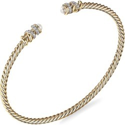 David Yurman Women's Helena End Station Bracelet In 18K Yellow Gold With 3.25-3.75MM Pearls & Diamonds - Gold - Size Medium found on Bargain Bro from Saks Fifth Avenue for USD $1,862.00