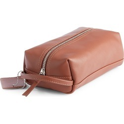 ROYCE New York Women's Compact Leather Toiletry Bag - Tan found on MODAPINS from Saks Fifth Avenue for USD $135.00