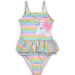Little Girl's 2-Piece Striped Unicorn Swimsuit