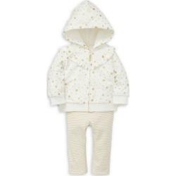 Baby Girl's Star-Print Cotton Hoodie, Shirt & Cotton-Blend Leggings Set