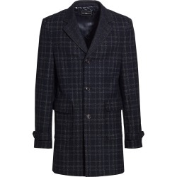 Saks Fifth Avenue Men's Slim-Fit Double Face Plaid Top Coat - Navy Charcoal - Size Small found on Bargain Bro from Saks Fifth Avenue for USD $303.23