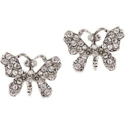 Oscar de la Renta Women's Crystal Pavé Silvertone Butterfly Stud Earrings - Crystal found on Bargain Bro Philippines from Saks Fifth Avenue for $190.00