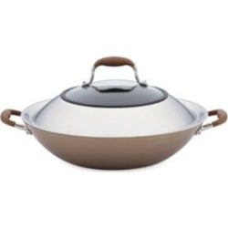 Advanced Bronze Hard Anodized Nonstick Covered Wok