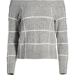 DH New York Women's Windowpane Check Off-The-Shoulder Sweater - Husky - Size XS