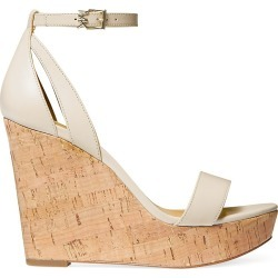 MICHAEL Michael Kors Women's Kimberly Leather Cork Platform Wedge Sandals - Lt Cream - Size 7 found on Bargain Bro from Saks Fifth Avenue for USD $91.20