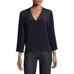 Derek Lam Women's V-Neck Full-Sleeve Blouse - Navy - Size 38 (2) found on MODAPINS from Saks Fifth Avenue OFF 5TH for USD $84.97