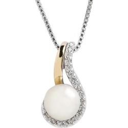 Pendentif En Argent/Or 14 Ct Avec Perle 7 Mm Et Diamants