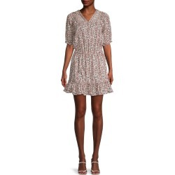 Nicole Miller Women's Printed Stretch-Cotton Mini Dress - Brown Multi - Size 6 found on MODAPINS from Saks Fifth Avenue OFF 5TH for USD $89.99