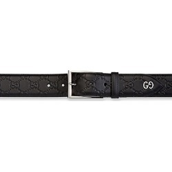 Gucci Men's Embossed Leather Belt - Black - Size 110 (44) found on MODAPINS from Saks Fifth Avenue for USD $450.00