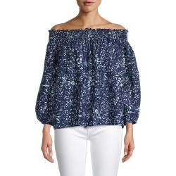 Nicole Miller Women's Rocky Off-The-Shoulder Top - Navy White - Size M found on MODAPINS from Saks Fifth Avenue OFF 5TH for USD $79.99