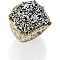 Konstantino Women's Classics 18K Yellow Gold & Sterling Silver Floral Filigree Ring - Silver Gold - Size 7 found on Bargain Bro India from Saks Fifth Avenue for $840.00