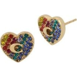 Heart Swarovski Crystals & Goldtone Stud Earrings found on MODAPINS from The Bay for USD $72.00