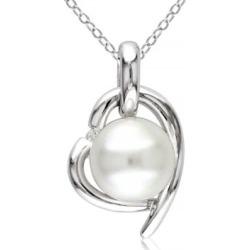 Collier à pendentif en caur en argent sterling avec diamants 0,02 ct PT et perle blanche