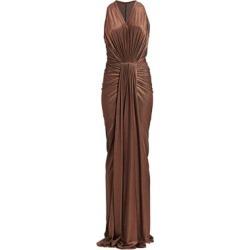 Metallic Bodycon Draped Gown