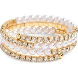 Cloud Nine Goldtone, White Acrylic Faux Pearl & Crystal Bangle Bracelet found on MODAPINS from The Bay for USD $19.60