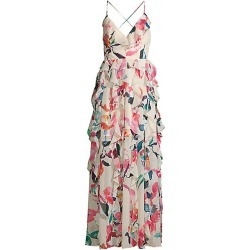 FAME AND PARTNERS Women's The Madeleine Ruffle Gown - Sorrento Floral Champagne - Size 4