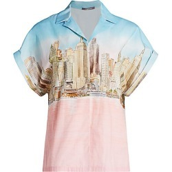 Lela Rose Women's NYC Skyline Cotton Poplin Shirt - Skyline - Size 10 found on MODAPINS from Saks Fifth Avenue for USD $460.00