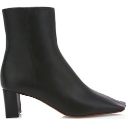 Vetements Women's Boomerang Square-Toe Leather Ankle Boots - Black - Size 41 (11)
