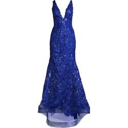 Jovani Women's V-Neck Floral Gown - Royal - Size 4