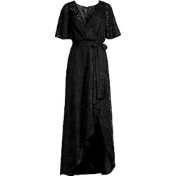 Aidan Mattox Women's Long Burnout Ruffled Wrap Dress - Black - Size 2 found on MODAPINS from Saks Fifth Avenue for USD $375.00