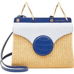 Danse Lente Women's Mini Phoebe Folio Leather & Raffia Bag - Blue found on MODAPINS from Saks Fifth Avenue for USD $350.00