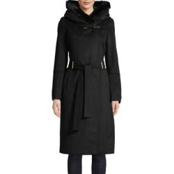 Faux Fur Trim Hooded Wool Coat