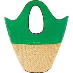 Danse Lente Women's Small Leather & Raffia Tote - Emerald found on MODAPINS from Saks Fifth Avenue for USD $375.00