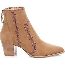 Alexandre Birman Women's Benta Embroidered Suede Ankle Boots - Tan - Size 39.5 (9.5) found on MODAPINS from Saks Fifth Avenue for USD $850.00