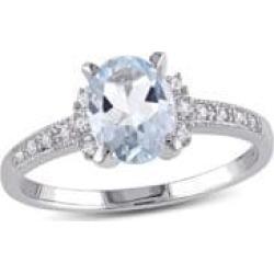 Bague en argent sterling avec aigue-marine et diamants de 0,07 ct