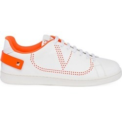 Valentino Garavani Men's Perforated V Logo Leather Sneakers - White Orange - Size 42 (9) found on Bargain Bro India from Saks Fifth Avenue for $695.00