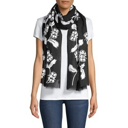 Janavi Women's Monochromatic Flowery Embroidered Cashmere Scarf - Black White found on MODAPINS from Saks Fifth Avenue for USD $995.00