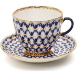 Two-Piece Porcelain Coffee Cup and Saucer Set