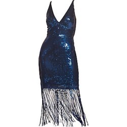 Dress The Population Women's Frankie Sequin Fringe Sheath Dress - Midnight Blue - Size L found on MODAPINS from Saks Fifth Avenue for USD $278.00
